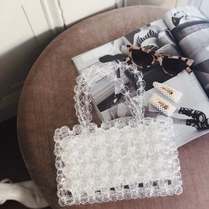 🆕Thora Clear Beaded Acrylic Clutch Tote Bag